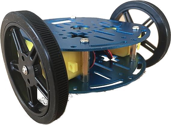 FeeTech Azul ft-dc-006-smc-2ch Aluminio Robot vehículo chasis con ft-smc-2ch DC Motor Drive Junta para Arduino: Amazon.es: Electrónica