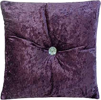 """17/"""" LUXURIOUS CRUSHED VELVET FILLED THICK SOFT CUSHION HEATHER PURPLE 43CM"""