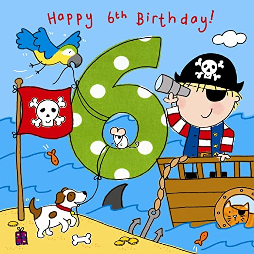 Twizler 6th Birthday Card for Boy with Pirate Dog and Glitter – Birthday Cards for Boys