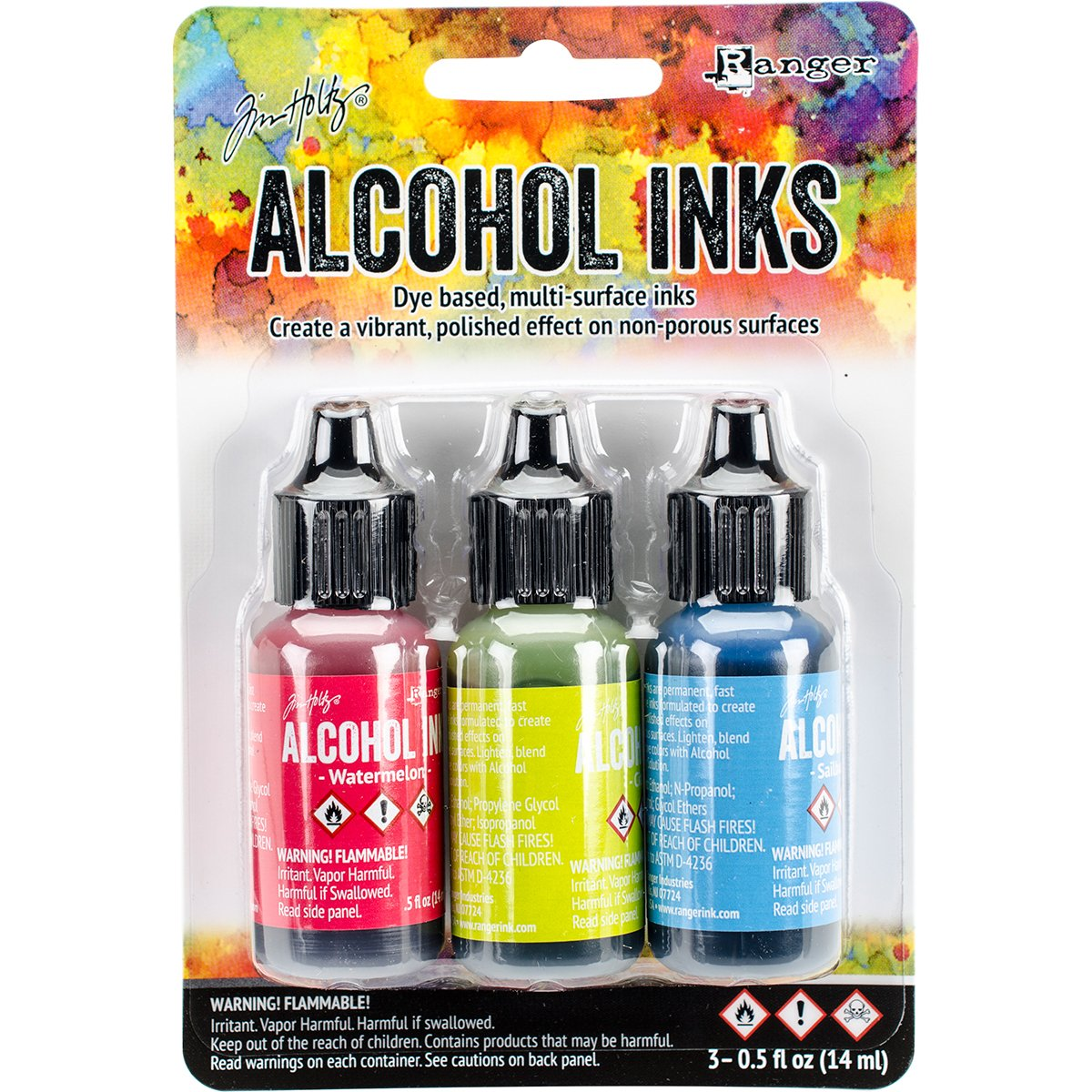 Ranger Adirondack Brights Alcohol Ink 1/2-Ounce 3-Pack, Dockside Picnic Notions - In Network TAK-B-25962