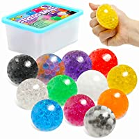 Sensory Stress Ball Set, 12 Pack Stress Relief Fidget Balls for Kids/Adults to Relax, Anxiety Relief, Decompress, Focus, Squeeze Toys for Autism/ADD/ADHD, Birthday/Party Favor, Water Beads Inside
