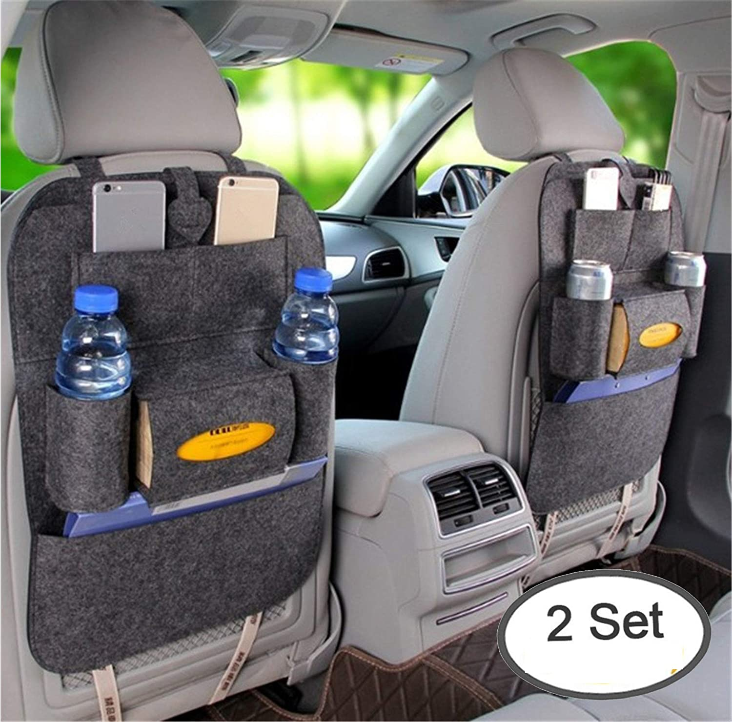 2 Packs Car Backseat Organizer Woolen Felt Seat Pocket Protector Storage for Bottle, Tissue Box, Toys, Kick Mats with Multi-pocket Organizer (Dark Grey) Fantastic Day