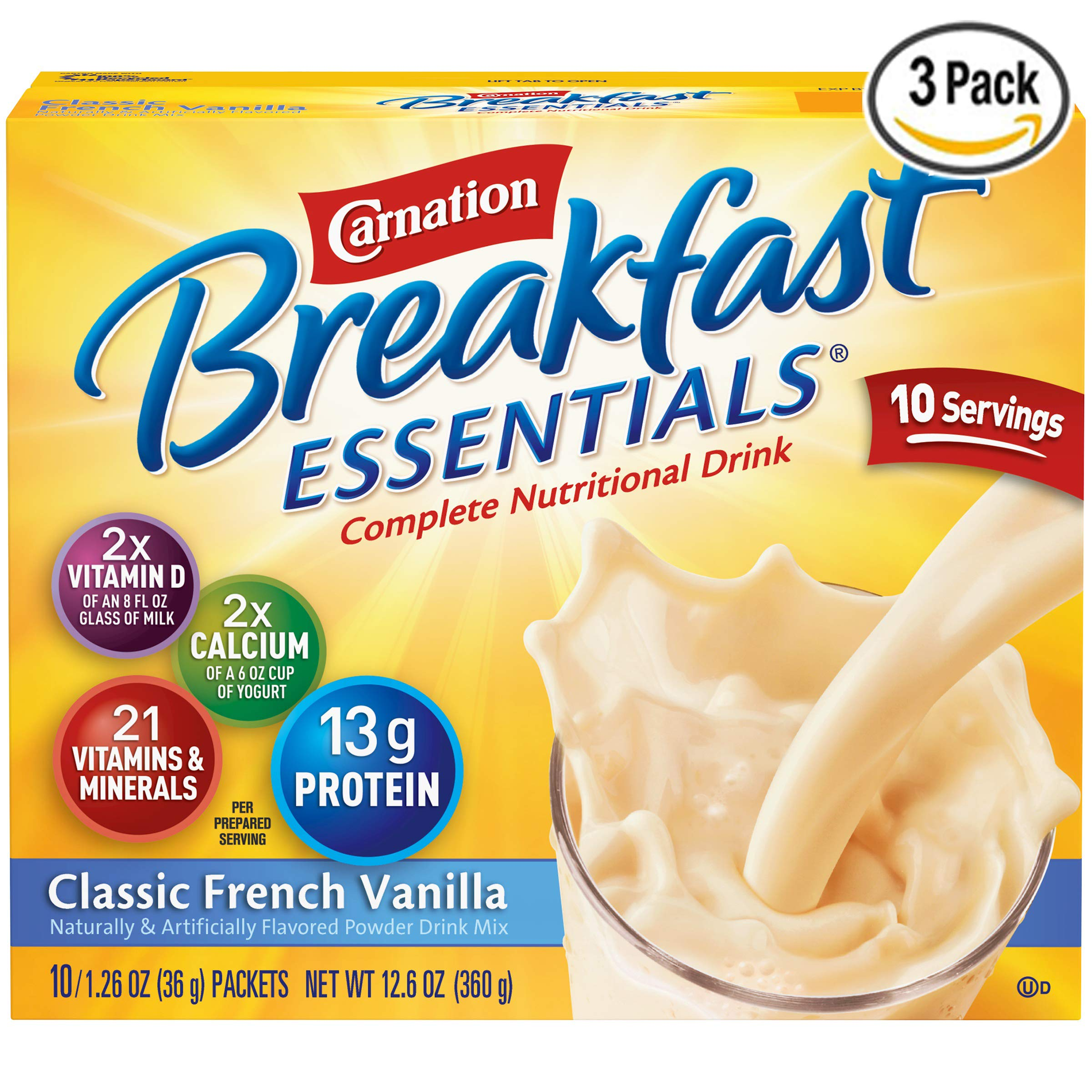 Nestle Carnation Breakfast Essentials - Classic French Vanilla - Drink Mix - 10 Count (Pack of 3)