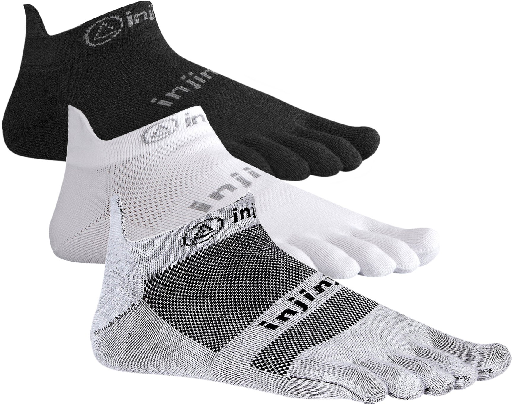 Injinji Run 2.0 Lightweight No Show Toe Socks 3 Pack (Black/Gray/White, Small)