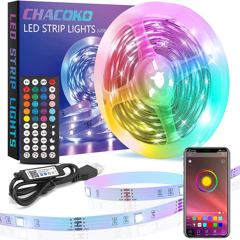 Tira LED Chacoko 10m RGB con Bluetooth y mando a distancia por sólo 7,99€ (marcando aplicar cupón)