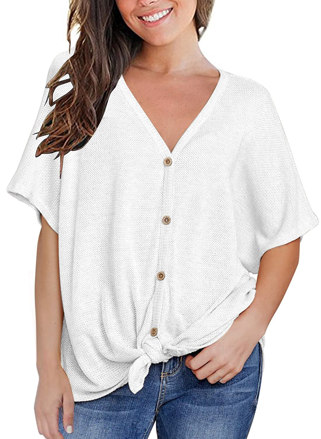 3f12e2c37 MIHOLL Womens Loose Blouse Short Sleeve V Neck Button Down T Shirts Tie  Front Knot Casual Tops at Amazon Women's Clothing store:
