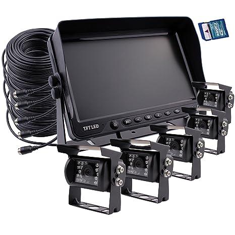 Zhiren - Monitor de pantalla de 7 pulgadas TFTLCD a color con pantalla dividida con grabación