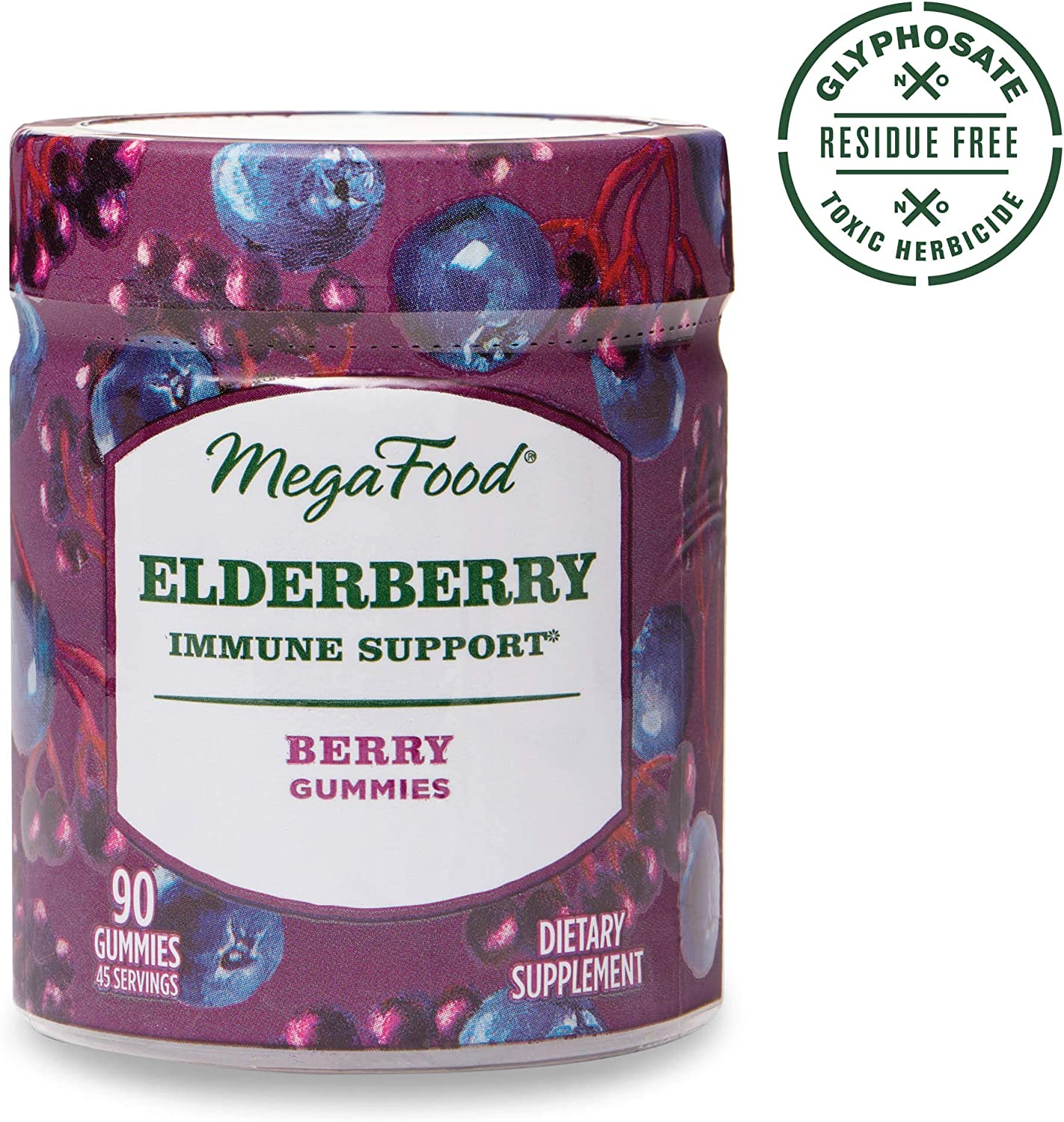 MegaFood, Elderberry Immune Support Gummies, Berry Soft Chew Supplement, Gluten Free, Vegan, 90 Gummies 45 Servings