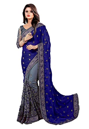 d3fdeb9c90 Arohi Designer Women's Satin and Net Half and Half Embroidered Saree with  Blouse Piece (Navy