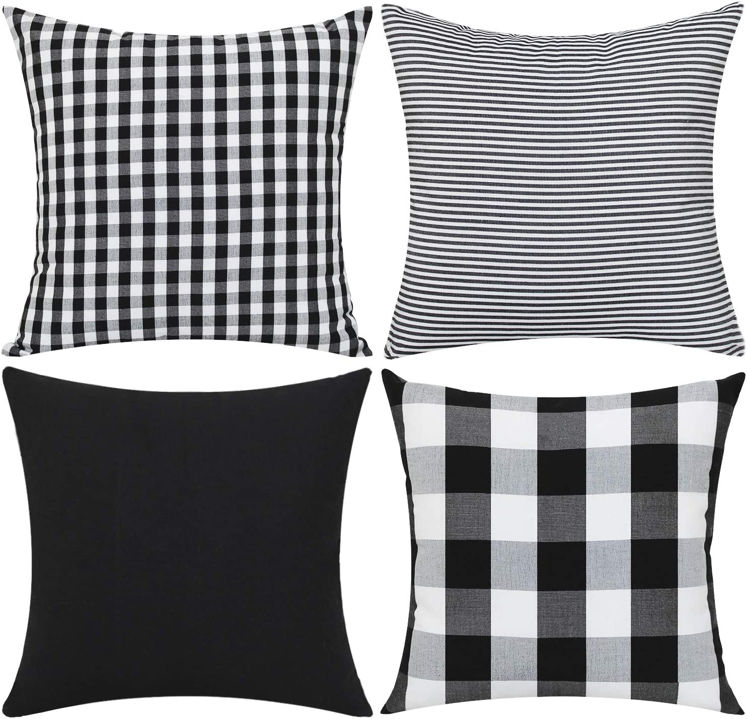 "Gysan Farmhouse Decorations Christmas Home Decor Bed Sofa Throw Pillow Case Cushion Covers Classic Retro Checkers Plaids (Black White Set of 4, 18"" x 18"")"