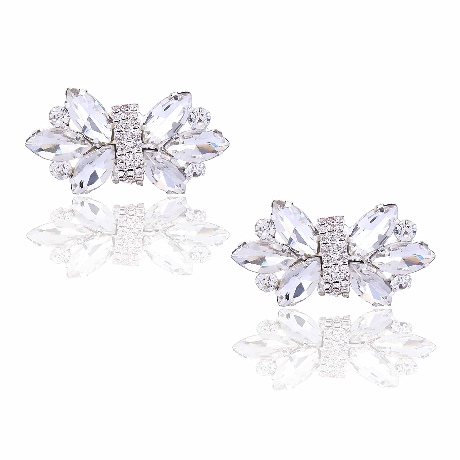 Santfe Clear Crystal Shoe Clips Decoration Wedding Party Shoes Accessories Rhinestone Shoe Charm Buckle Clip