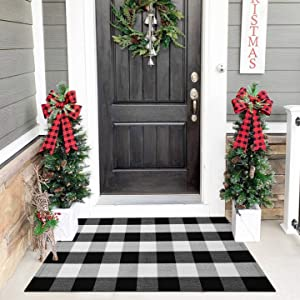 Cotton Buffalo Check Rug | 27.5 x 43 Inches | Buffalo Plaid Rug Washable Hand-Woven Outdoor Rugs for Layered Door Mats Porch/Kitchen/Farmhouse/Entryway
