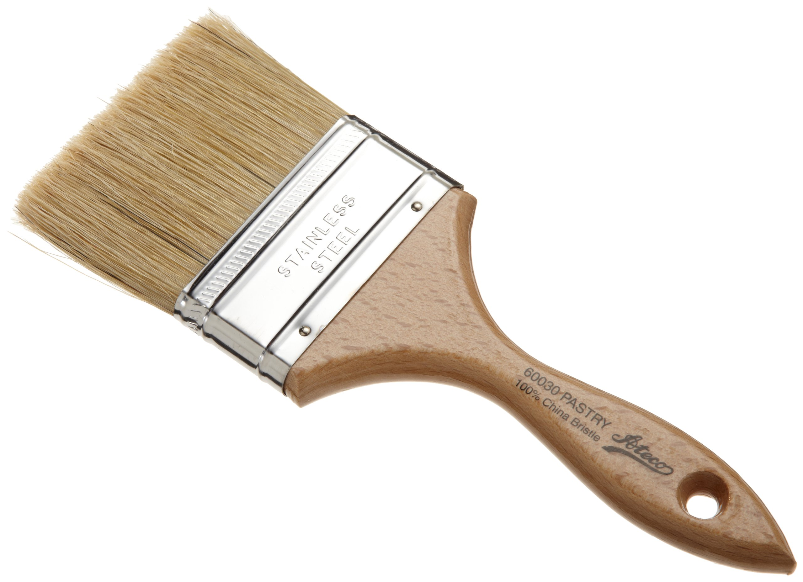Ateco 60030 Pastry Brush, 3-Inch Wide Head with Natural White Boar Bristles, Stainless Steel Ferrule & Wood Handle