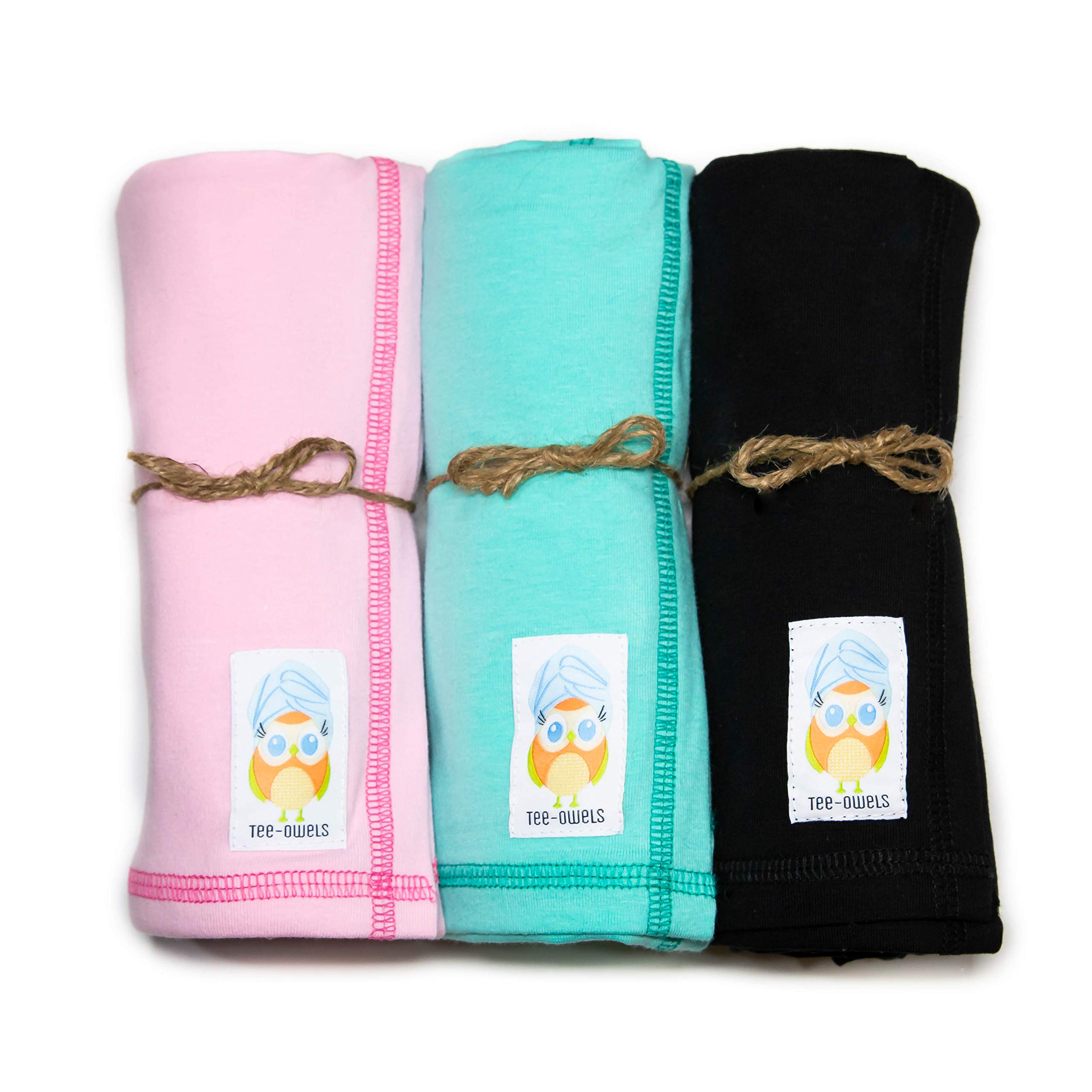 Tee-Owels Classy Combo (Short to Shoulder) - 3 Pack of Ideal Cotton T-Shirt Hair Towels for Natural and Curly Hair Care - Promotes Healthy Hair by Preventing Damage, Breakage, and Frizz by Tee-Owels