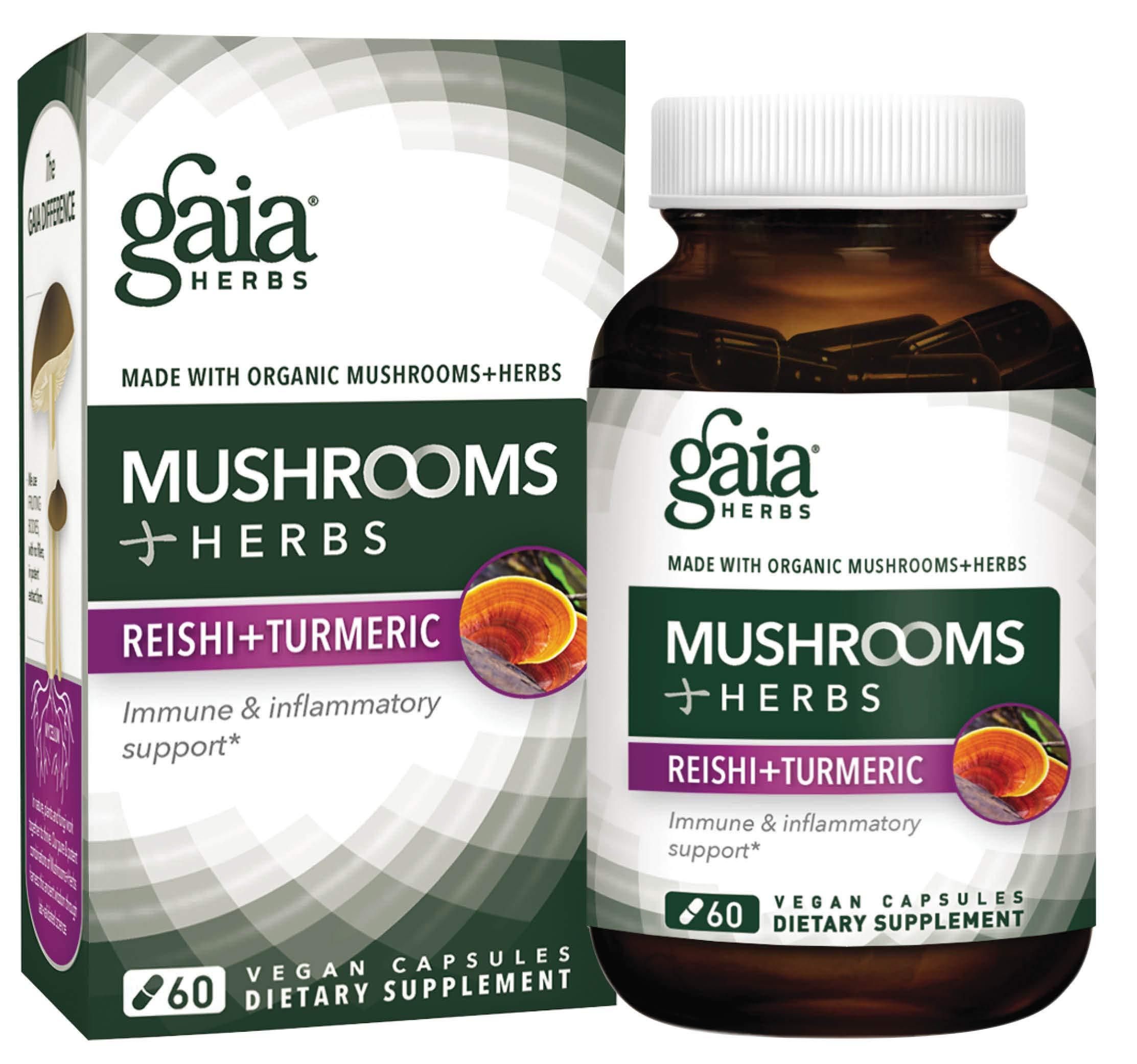 Gaia Herbs Mushrooms + Herbs Reishi + Turmeric Vegan Liquid Capsules, 60 Count - Daily Immune Support and Inflammation Supplement with Organic Reishi and Turmeric Curcumin