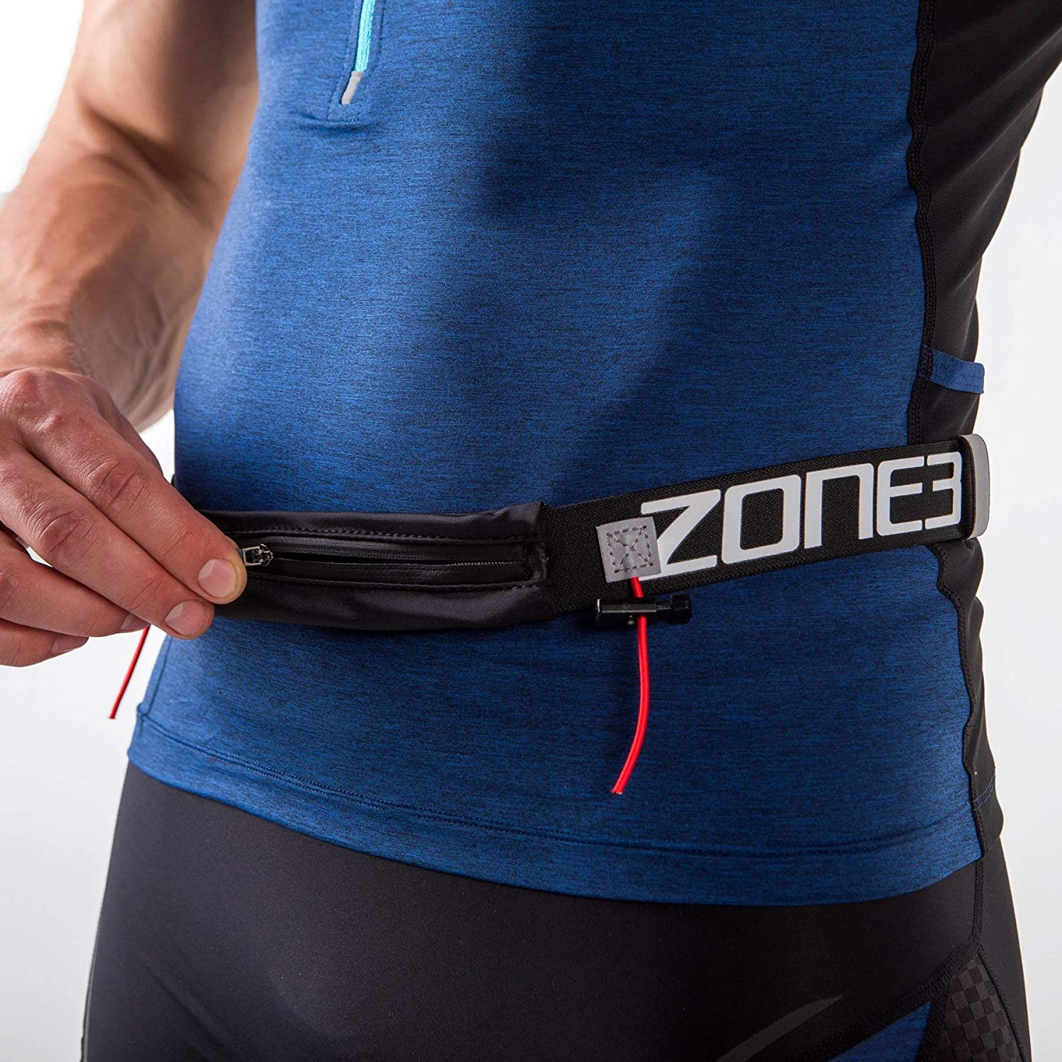 Zone3 Endurance Number Belt with Lycra Fuel Pouch and Energy Gel Storage