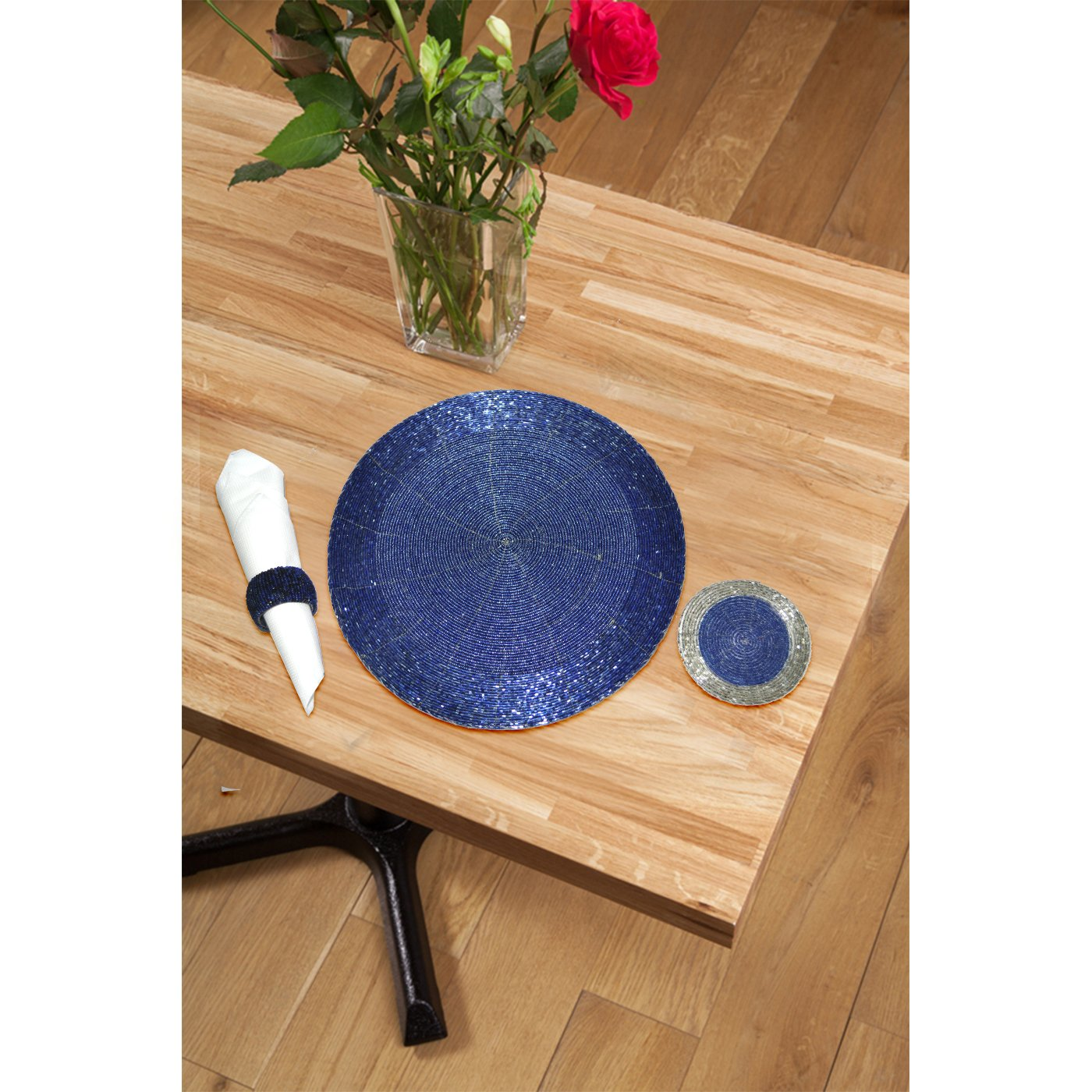 DakshCraft 4 Beaded Round Ethnic Placemat/Tablemat(Dia - 12'') with 4 tea cup coaster(Dia - 4'') and 4 napkin ring(Dia -1.5'') for Christmas Gift, Decorative Item, Gifts Purpose, dining accessories by DakshCraft (Image #2)