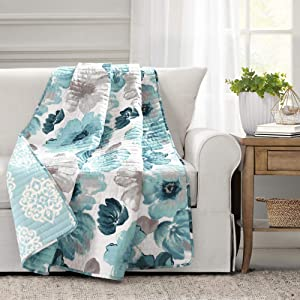 Lush Decor, Blue Leah Throw Blanket, 60