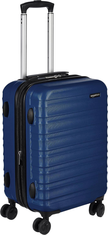 AmazonBasics - Maleta de viaje rígida giratori - 55 cm, Tamaño de cabina, Azul marino