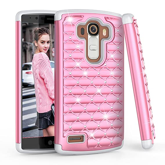 best website fb6e9 f3c0d LG G4 Case, LG G4 Glitter Case For Girls Women, TILL(TM) Studded Rhinestone  Crystal Bling Diamond Sparkly Luxury Shock Absorbing Hybrid Silicone ...