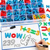 235 Pcs Magnetic Letter Number with Magnet Board, 2 Erasable Magnetic Pen and Storage Box, Foam ABC Alphabet Gift for Refrige
