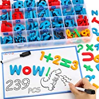 235 Pcs Magnetic Letter Number with Magnet Board, 2 Erasable Magnetic Pen and Storage Box, Foam ABC Alphabet Gift for…
