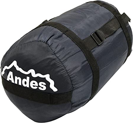 Andes Palermo 250 Rectangle Sleeping Bag Warm 250GSM Filling Festivals Waterproof Compression Carry Bag Included Ideal For Camping