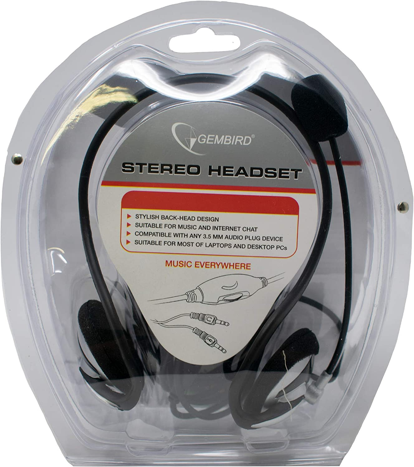 Laptop Skype//iCHOOSE Gembird MHS-108 Headset with Volume Control /& Adjustable Microphone//Stereo Headphones for PC