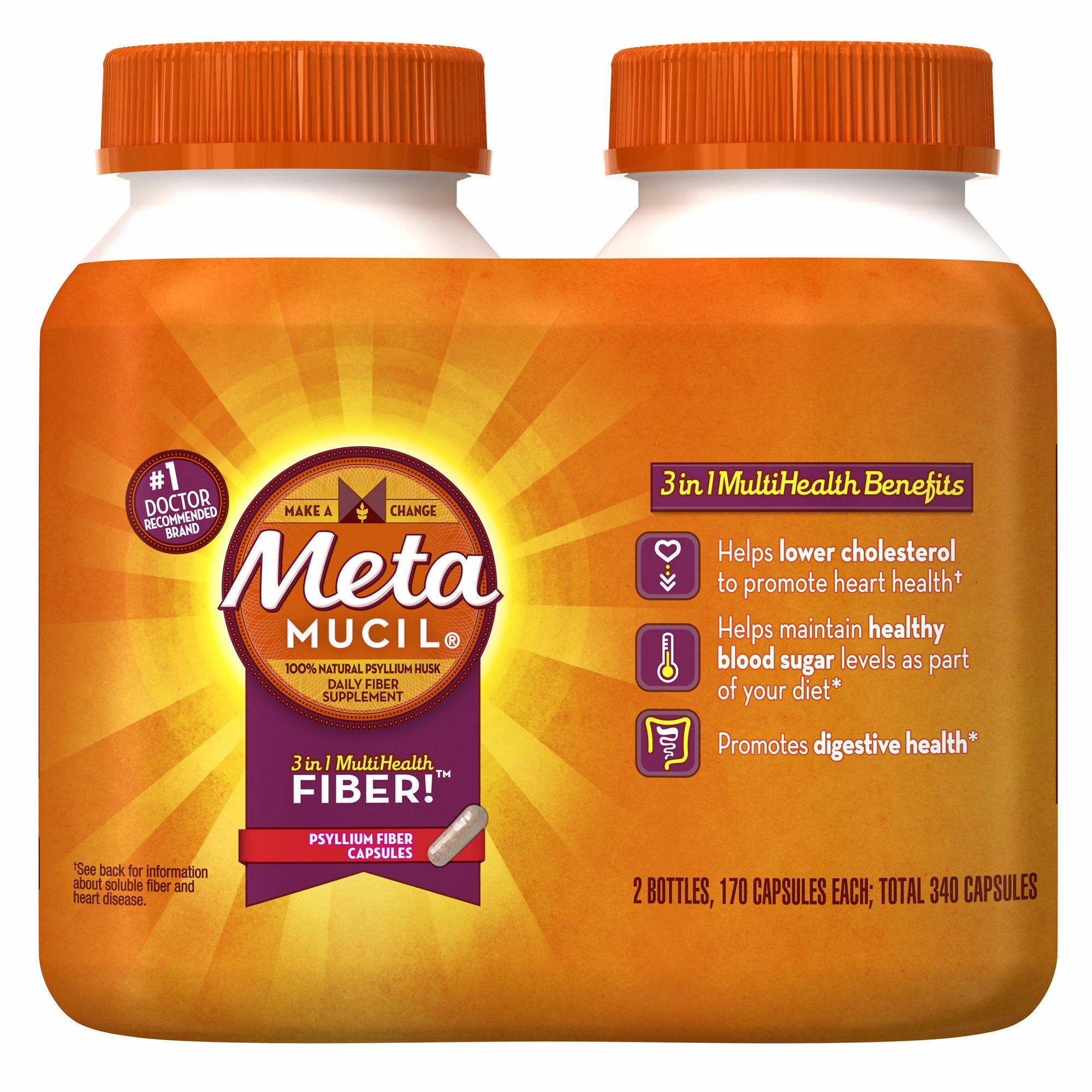 Metamucil Psyllium Fiber Supplement Capsules, 2 pk./170 ct. (pack of 6)