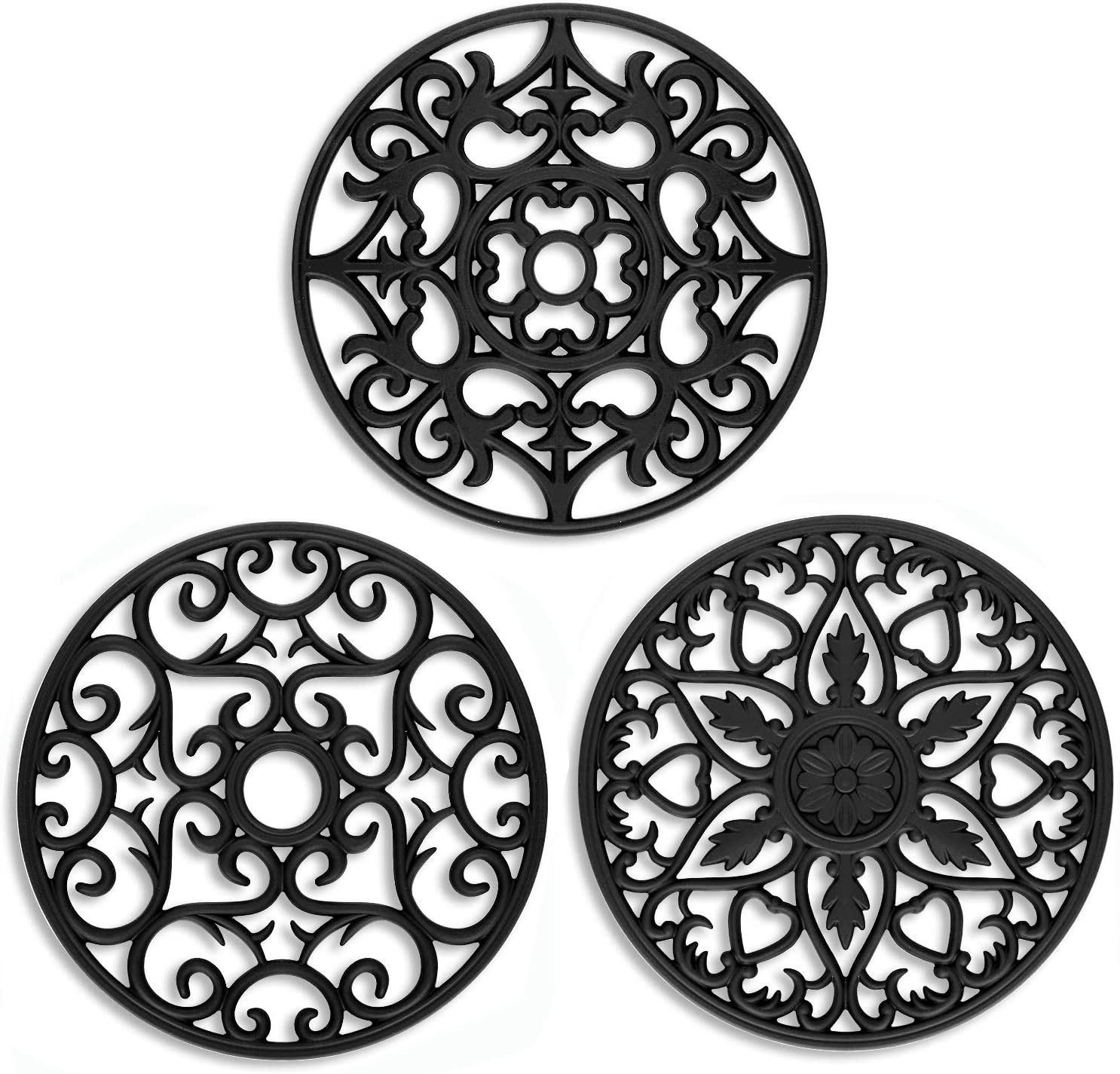 Flexible Non-Slip Smithcraft Silicone Trivets for Hot Pots and Pans,Hot Pads for Kitchen Counter,Pot Holders Pack 3 Black Heat Resistant Multi-Use Intricately Carved Mats