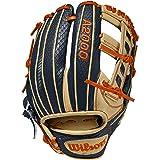 Wilson A2000 11.5-Inch SuperSkin Baseball Glove, Navy/Blonde/Orange, Left (Right Hand Throw)