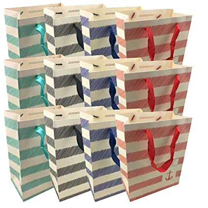 NIMNIK Bolsas de Regalo de Papel - Bolsa de Papel, Bolsa de Papel para Regalos de cumpleaños 12 PC [23 x 18 x 10 cms]