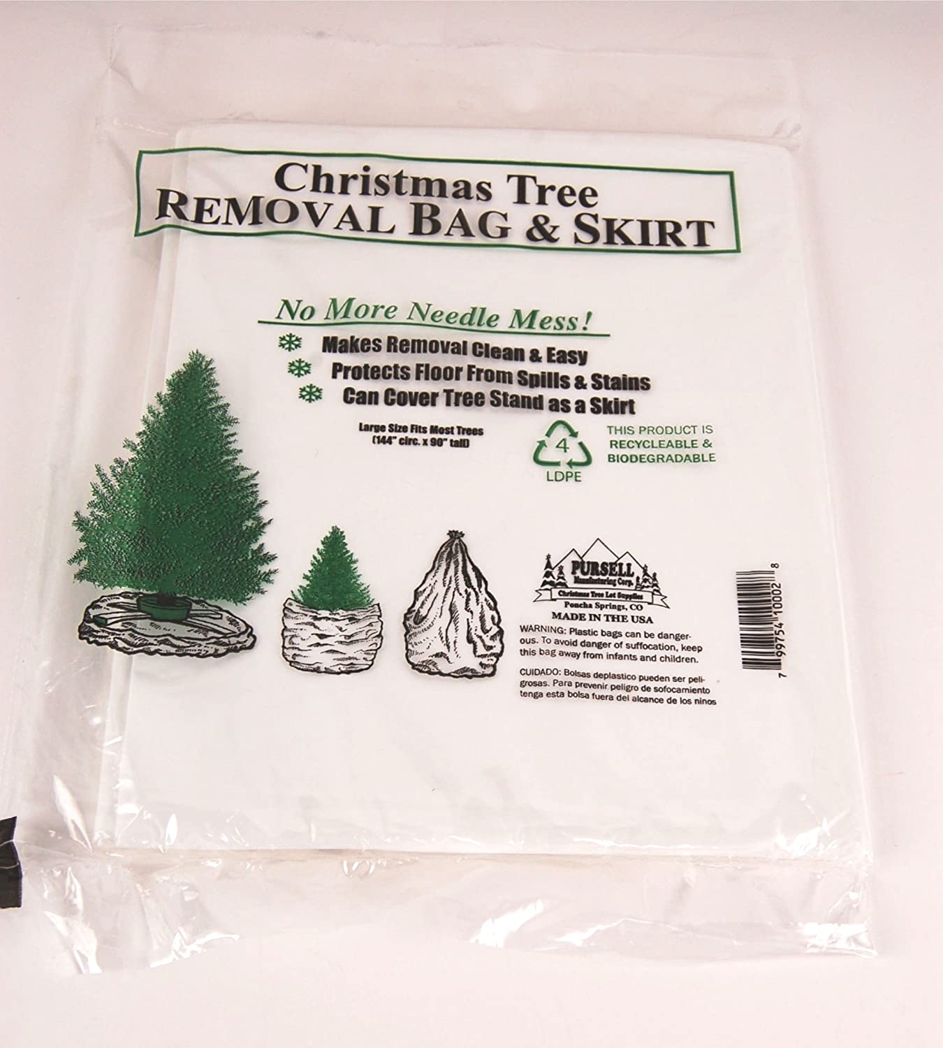 amazoncom jumbo christmas tree disposal and storage bag fits trees to 9 feet home kitchen - Christmas Tree Bags Amazon