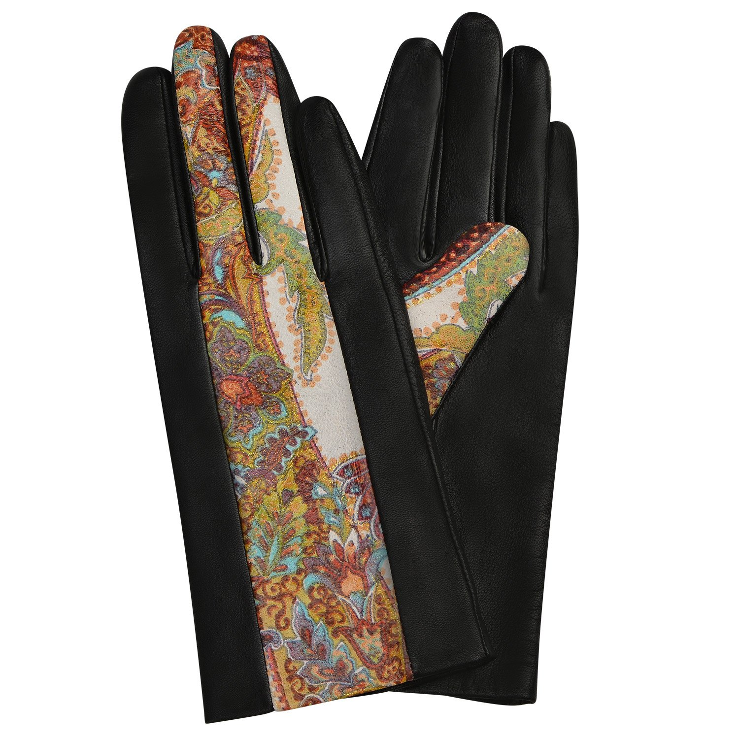 GSG Womens Novelty Paisley Italian Genuine Nappa Leather Gloves Lady Winter Gloves Full Palm Touchscreen 7 Black-Z