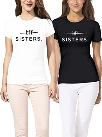 VIVAMAKE® Pack 2 Camisetas de Mujer Originales para Mejores Amigas con Diseño BFF Sister: Amazon.es: Ropa y accesorios
