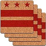 Washington DC Flag Low Profile Cork Coaster Set