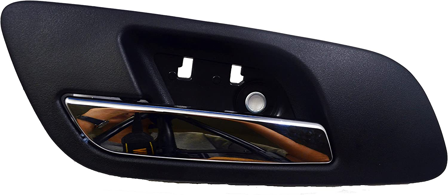 Inner Interior Inside Door Handle PT Auto Warehouse GM-2546MAFPK Black Housing with Chrome Lever Ebony Front Left//Right Pair without Hole