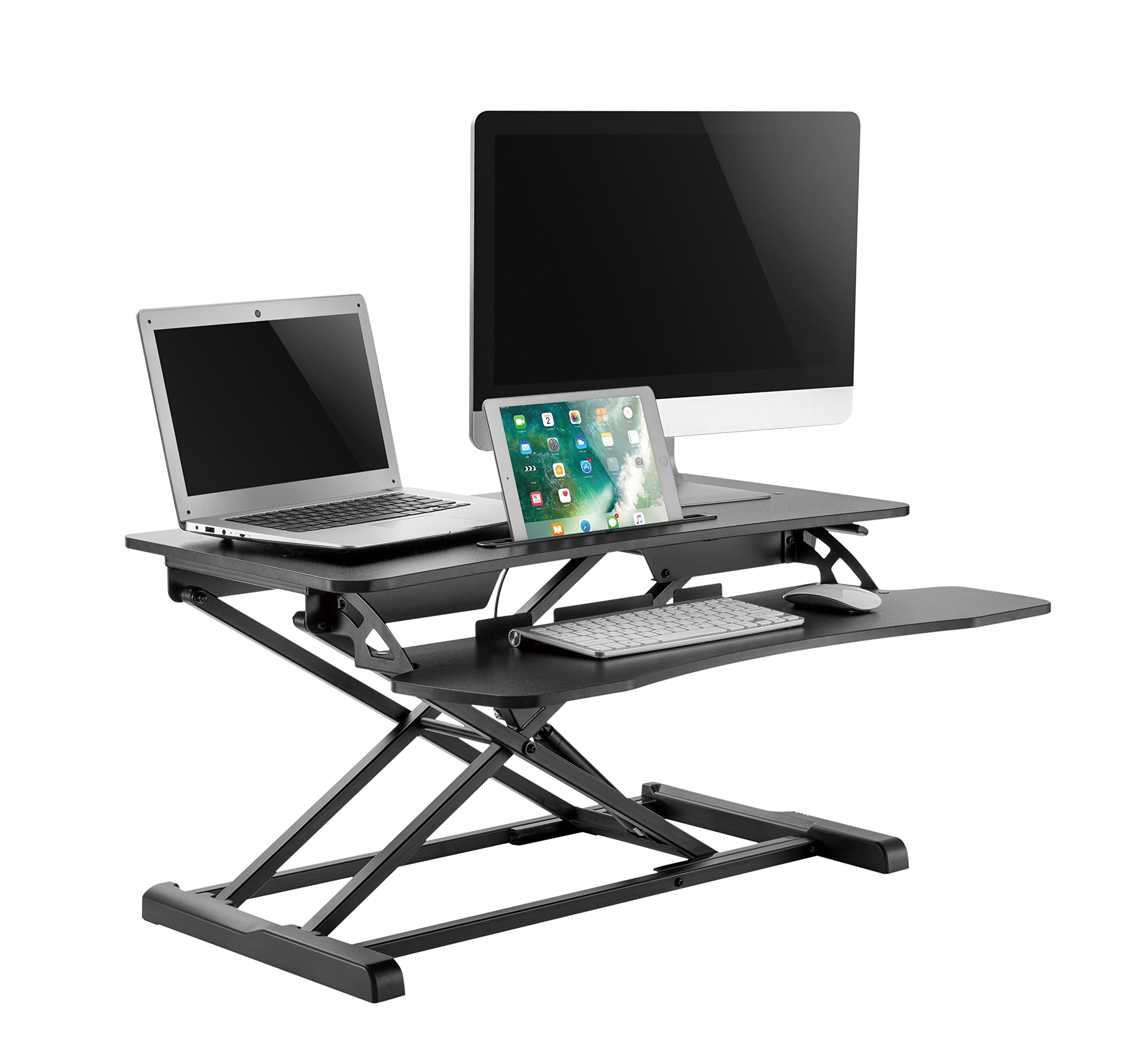 Elitech Sit and Stand Desk Converter with retractable keyboard tray – 37'' inches  height adjustable standing desk converter that serve as  a desk riser for dual monitor set up and tablet.