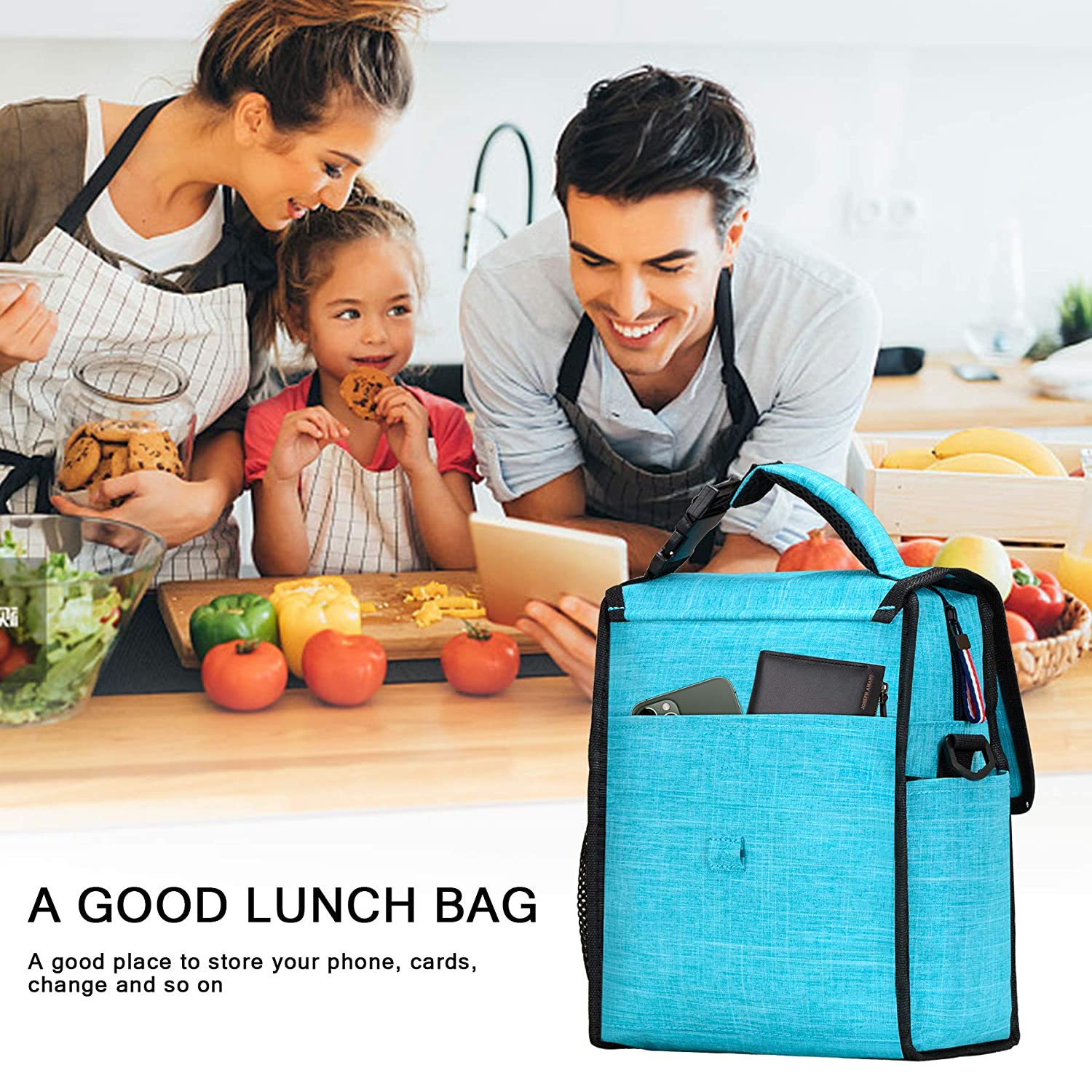 Banbrick/Lunch Bag,Foldable Insulated Lunch Box,Large Cooler Tote Bag for Women/and Men,Kids Lunch Bag Lunch Bag for adults,Thermal Lunch Bag for Work//Picnic//Hiking