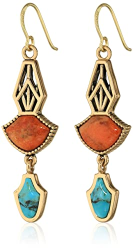 Barse Medieval Orange Sponge Coral and Turquoise Drop Earrings