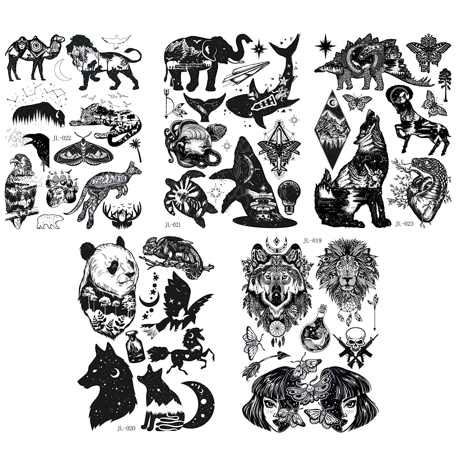 5 Sheets different temporary fake tattoos punk fashion waterproof temporary tattoo stickers suitable for adult children body art party decoration (B)