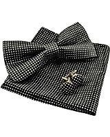 Alizeal Men's Vintage Checkered Bow Tie& Handkerchief& Cufflinks Set