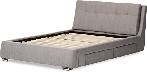 Baxton Studio Bwire Modern and Contemporary Fabric Upholstered 4-Drawer Size Storage Platform Bed, Queen, Grey