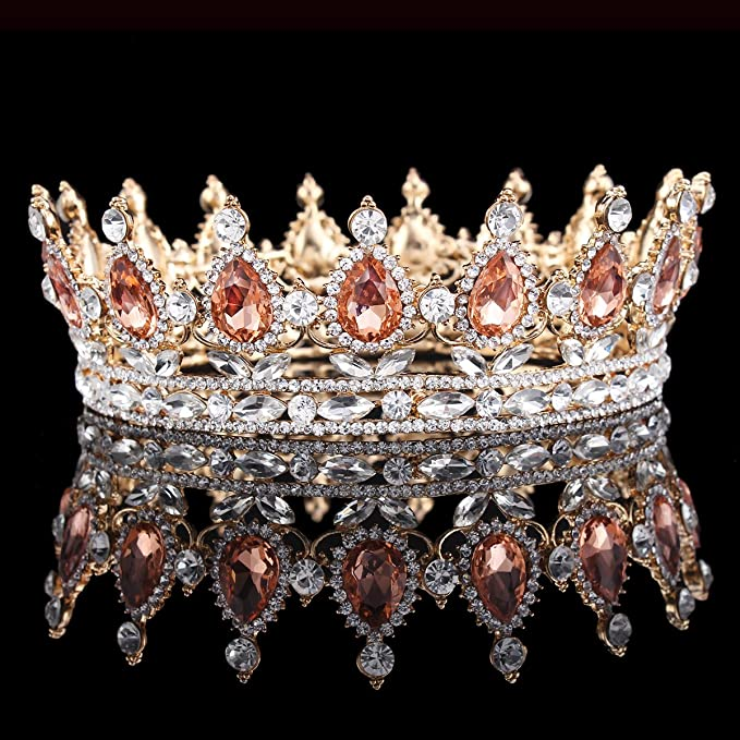 b8caeb0bbd9 HerZii Princess Rhinestone Crystal Crowns Wedding Tiaras Party Accessories  Head Jewelry (Champagne+Gold)