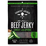 Country Archer 100% Grass-Fed Gluten Free Beef Jerky, Sweet Jalapeno, 3 Ounce