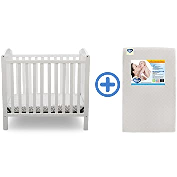 Delta Children Emery Mini Convertible Baby Crib & Twinkle Stars 3-Inch Waterproof Mini Crib
