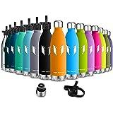 Super Sparrow Bottiglia d'acqua con isolamento a vuoto a doppia parete in acciaio inox - 500ml & 750ml - Borraccia sport a prova di perdite - BPA Free Cappellino sportivo con cappuccio standard