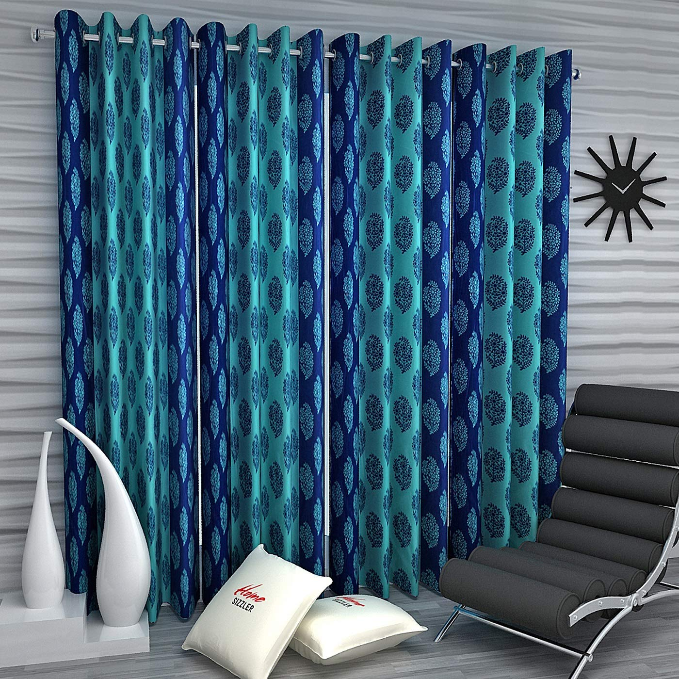 Home Sizzler 4 Piece Eyelet Polyester Door Curtain Set - 7ft, Blue