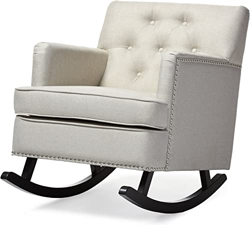 Baxton Studio Bethany Modern Contemporary Fabric Upholstered Button-Tufted Rocking Chair