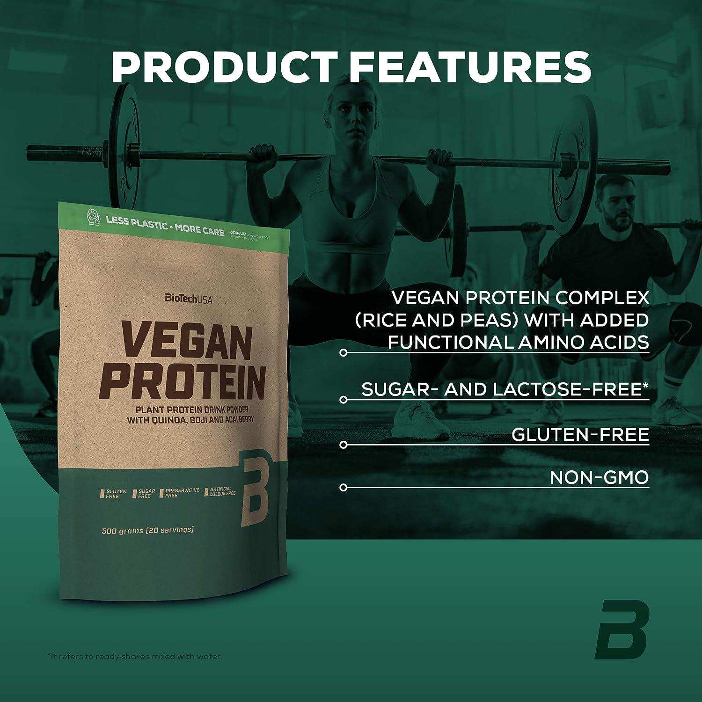 BioTechUSA Vegan Protein En polvo con sabor bebida a base de proteína vegetal, con bayas goji y acai en polvo, harina de quínoa, 500 g, Frutas del ...